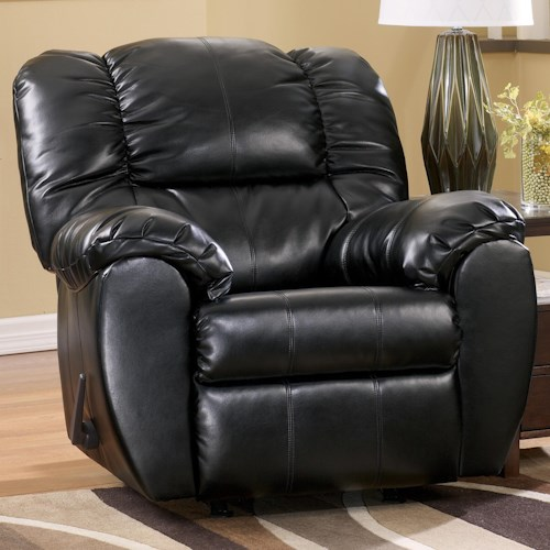 Signature Design by Ashley Dylan DuraBlend - Onyx Bonded Leather Match Rocker Recliner