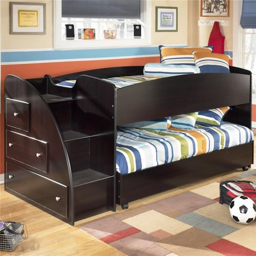 Signature Design by Ashley Embrace Twin Loft Bed with Caster Bed and Left Storage Steps