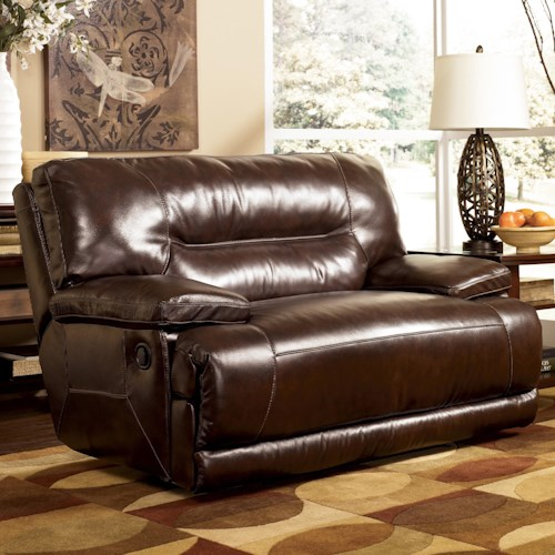 Signature Design by Ashley Exhilaration - Chocolate Leather Zero Wall Recliner with Wide Seat