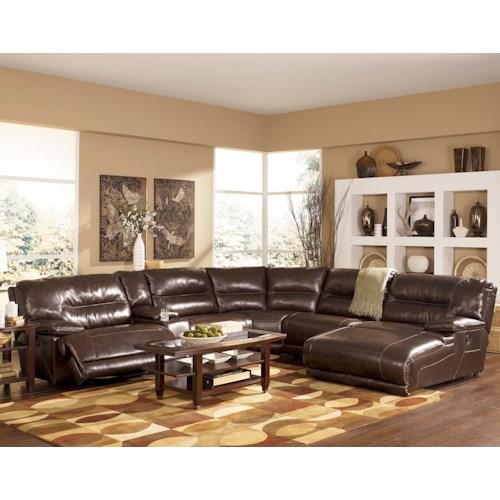Signature Design by Ashley Exhilaration - Chocolate  Contemporary Leather Match Sectional Sofa with LAF Power Recliner