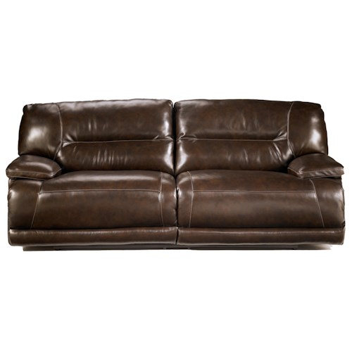 Signature Design by Ashley Exhilaration - Chocolate Contemporary 2-Seat Reclining Leather Sofa w/ Power