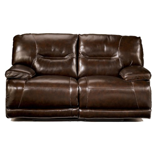 Signature Design by Ashley Exhilaration - Chocolate Contemporary Leather Reclining Love Seat