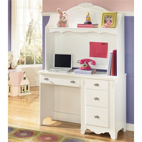 Signature Design by Ashley Exquisite 4 Drawer Desk with 1 Shelf Hutch