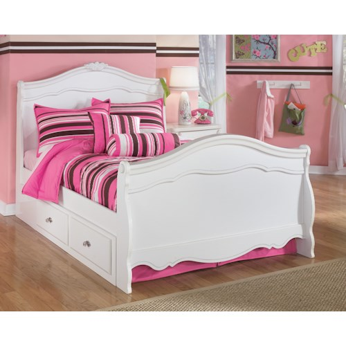Signature Design by Ashley Lil' Darling Full Sleigh Bed with Under Bed Storage