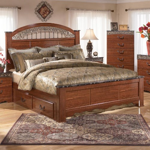 Signature Design by Ashley Brookfield King Poster Bed with Under Bed Storage and Ornate Scrolled Detail