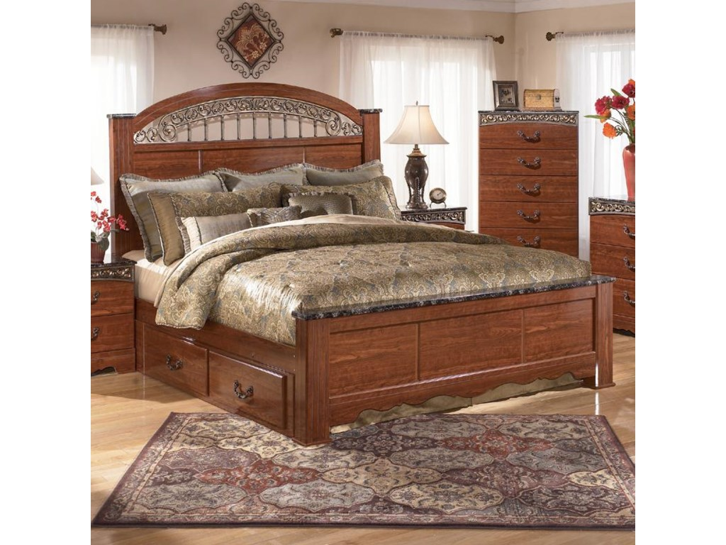 Ornate Bedroom Furniture Signature Design By Ashley Fairbrooks Estate King Poster Bed With