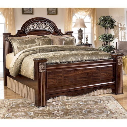 Signature Design by Ashley Gabriela Traditional Queen Poster Bed with Faux Marble Detail