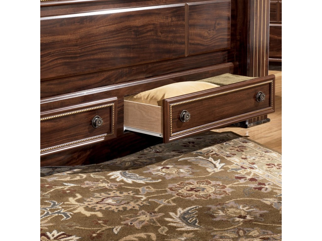 Pull Out Drawers Shown on King Poster Storage Bed