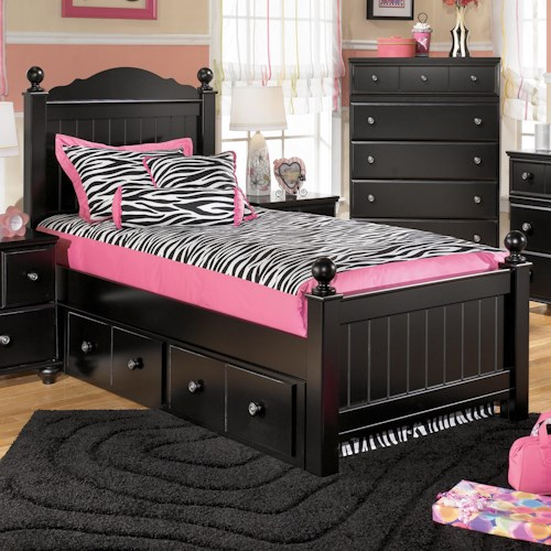 Signature Design by Ashley Jordan Twin Poster Bed with Underbed Storage
