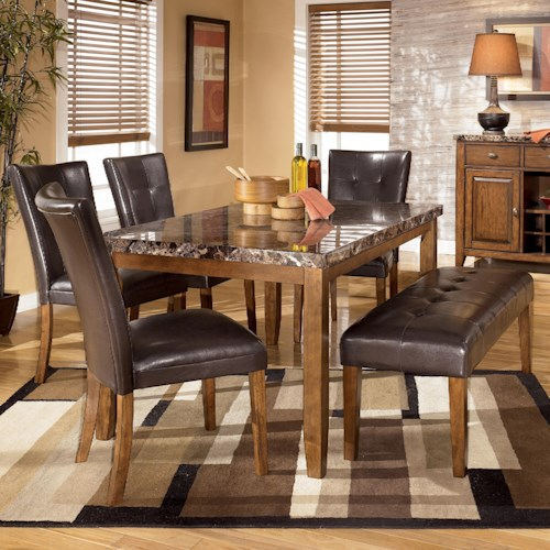 Signature Design by Ashley Lacey 6-Piece Dining Table with Side Chairs & Bench Set