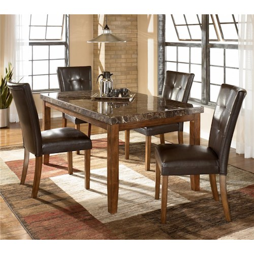 Signature Design by Ashley Lacey 5-Piece Rectangular Dining Table & Upholstered Chair Set
