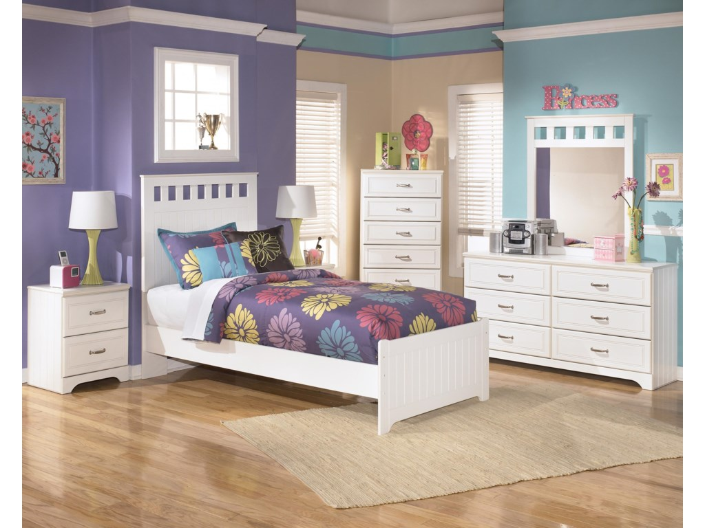 Shown with Bed, Night Stand, Dresser, and Mirror