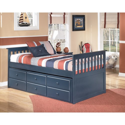 Signature Design by Ashley Leo Twin Bed with Trundle Drawer Box