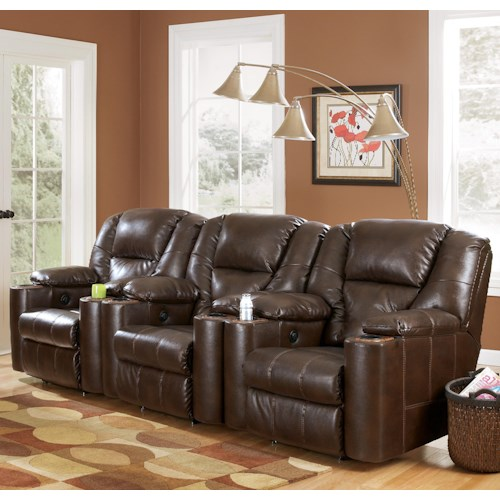 Signature Design by Ashley Paramount DuraBlend® - Brindle 3-Piece Reclining Home Theater Group with Cup Holders