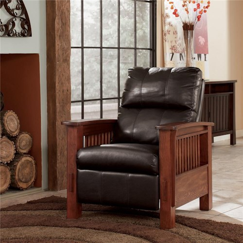 Signature Design by Ashley Santa Fe  High Leg Recliner with Mission Style Arms