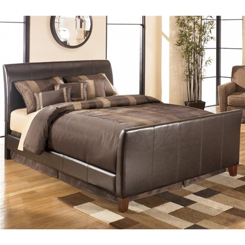 Signature Design by Ashley Stanwick Queen Faux Leather Upholstered Sleigh Bed