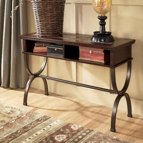 Signature Design by Ashley Zander Sofa/Console Table with Slate Inlay and Metal Base