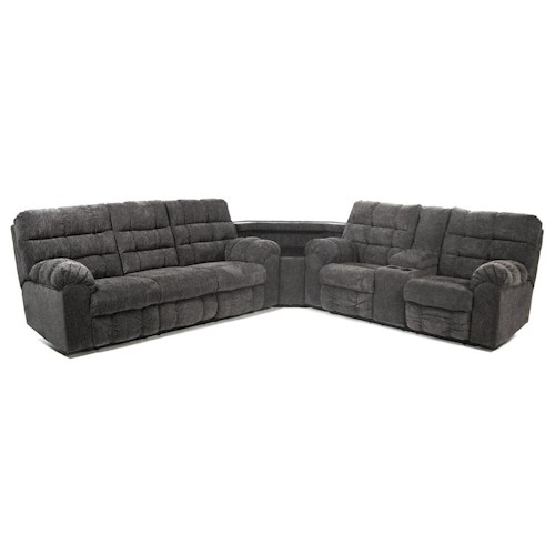 Signature Design by Ashley Addie Reclining Sectional Sofa with Right Side Loveseat, Cup Holders and Charging Station