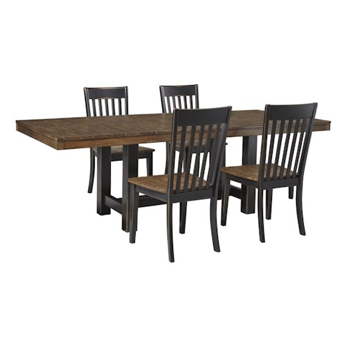 Signature Design by Ashley Emerfield 5 Piece Two-Tone Dining Table Set