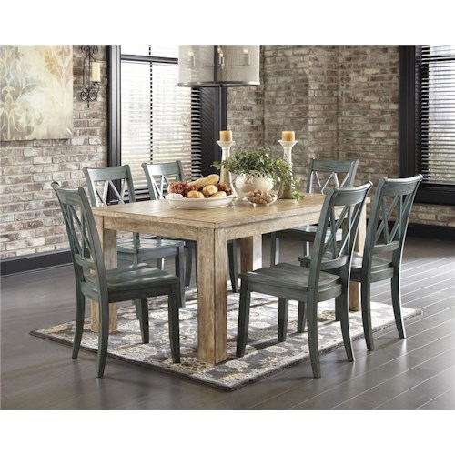 Signature Design by Ashley Mestler 5-Piece Table Set with Antique Blue Chrs
