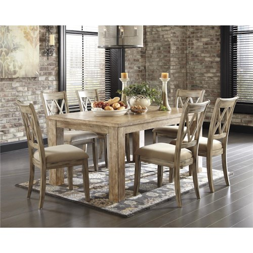 Signature Design by Ashley Mestler 5-Piece Table Set with Antique White Chr