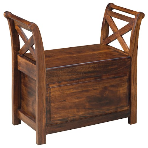 Signature Design by Ashley Furniture Abbonto Acacia Wood Bench with Storage