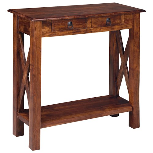 Signature Design by Ashley Furniture Abbonto Acacia Wood Console Sofa Table with Storage