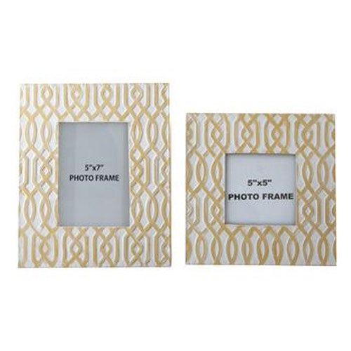 Signature Design by Ashley Furniture Accents Baina - Yellow/White Photo Frame (Set of 2)