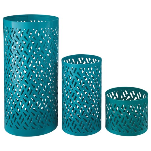 Signature Design by Ashley Furniture Accents Caelan - Teal Candle Holder (Set of 3)