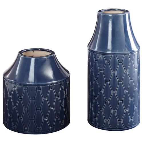 Signature Design by Ashley Furniture Accents Caimbrie - Navy Vases (Set of 2)