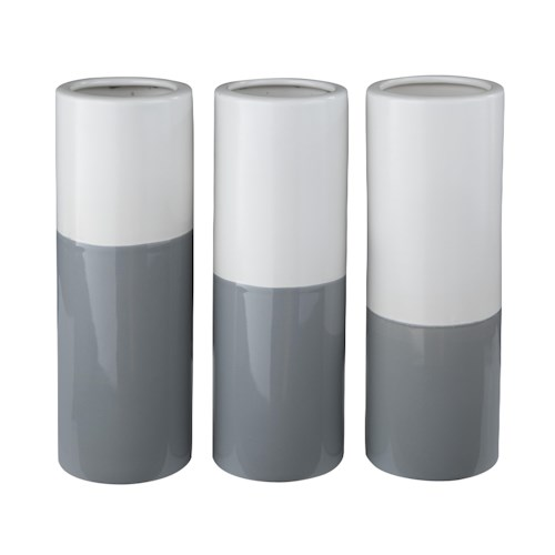Signature Design by Ashley Accents Dalal Gray/White Vases (Set of 3)