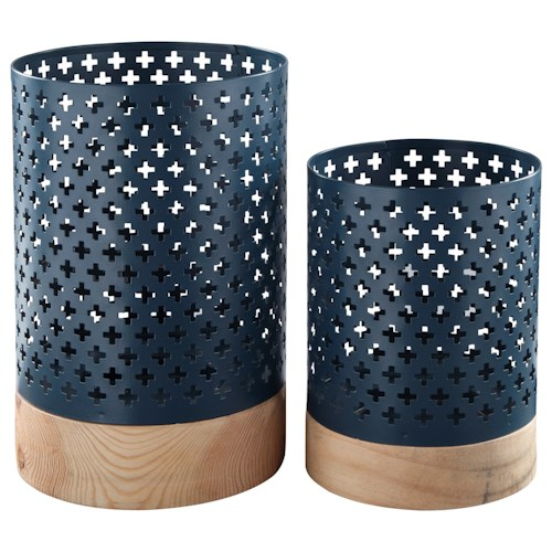 Signature Design by Ashley Accents Daichi - Navy/Natural Candle Holders (Set of 2)