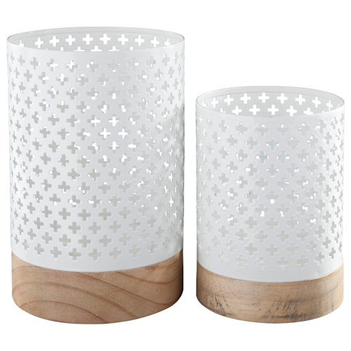 Signature Design by Ashley Accents Daichi White/Natural Candle Holder (Set of 2)