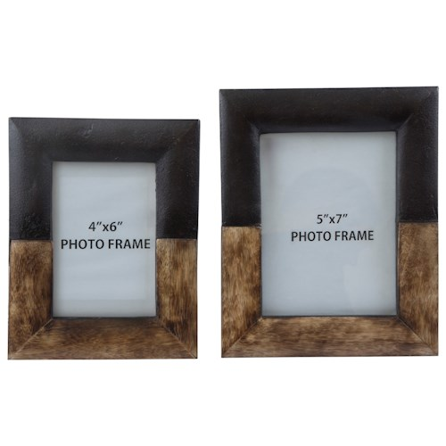 Signature Design by Ashley Furniture Accents Michi Bronze Finish/Wood Photo Frames, Set of 2