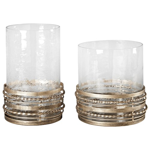 Signature Design by Ashley Furniture Accents Obaida - Antique Gold Finish Candle Holders, Set of 2