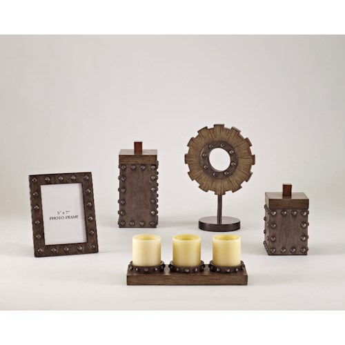 Signature Design by Ashley Furniture Accents Sakina - Faux Wood & Pewter Accessory Set