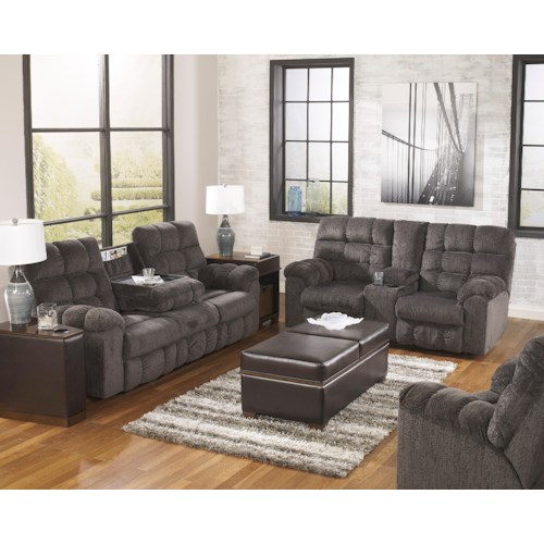 Signature Design by Ashley Furniture Acieona - Slate Reclining Living Room Group