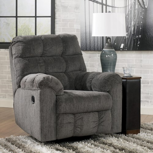 Signature Design by Ashley Furniture Acieona - Slate Swivel Rocker Recliner with Quilted Cushion Style