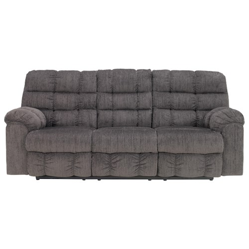 Signature Design by Ashley Furniture Acieona - Slate Reclining Sofa with Drop Down Table and Cup Holders