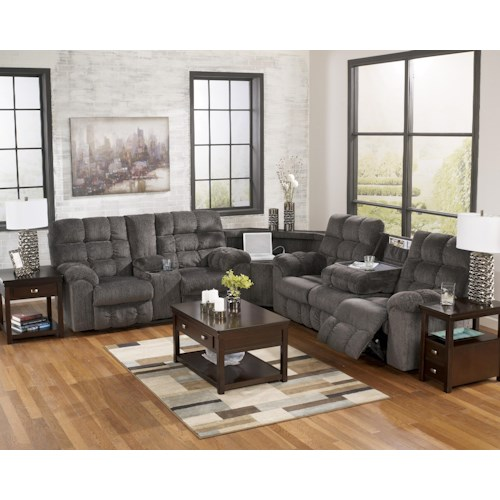 Signature Design by Ashley Acieona - Slate Reclining Sectional with Left Side Loveseat, Cup Holders and Charging Station