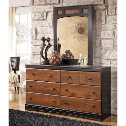 Signature Design by Ashley Aimwell Two-Tone Finish Dresser & Mirror