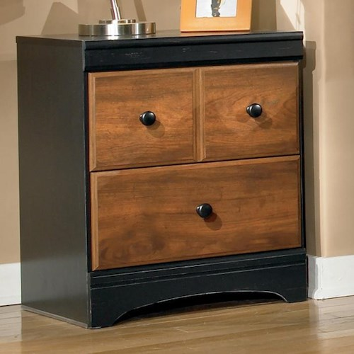 Signature Design by Ashley Aimwell Two Drawer Night Stand in Two-Tone Finish