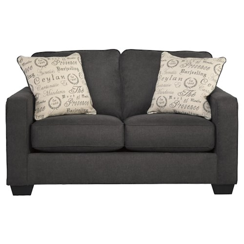 Signature Design by Ashley Furniture Alenya - Charcoal Contemporary Loveseat w/ Track Arms