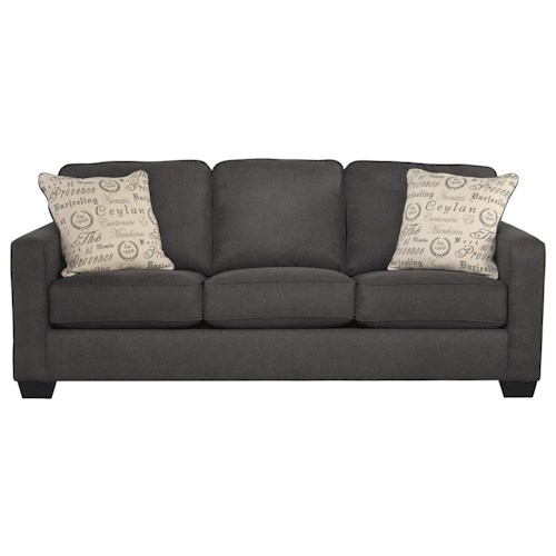 Signature Design by Ashley Alenya - Charcoal Comtemporary Track Arm Queen Sofa Sleeper