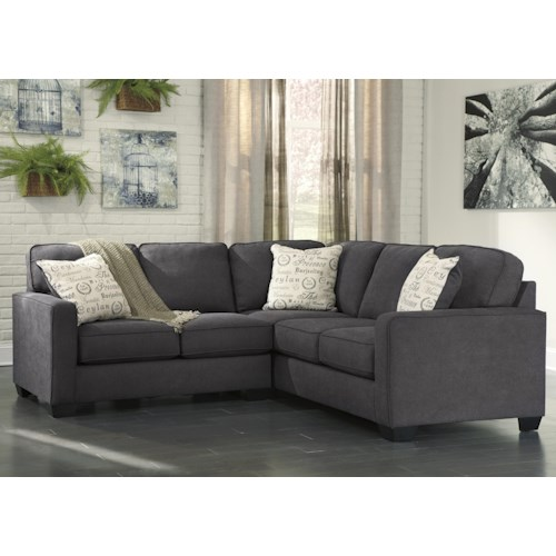 Signature Design by Ashley Alenya - Charcoal 2-Piece Sectional with Left Loveseat