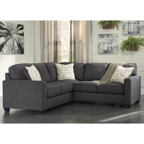 Signature Design by Ashley Furniture Alenya - Charcoal 2-Piece Sectional with Right Loveseat