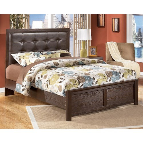 Signature Design by Ashley Aleydis Queen Faux Leather Upholstered Panel Bed