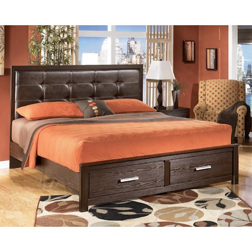 Signature Design by Ashley Aleydis King Faux Leather Upholstered Panel Storage Bed