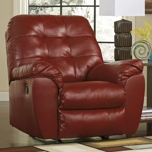 Signature Design by Ashley Furniture Alliston DuraBlend® - Salsa Rocker Recliner w/ Pillow Arms