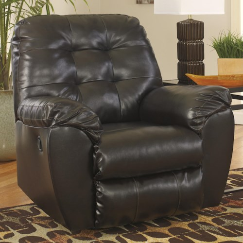 Signature Design by Ashley Alliston DuraBlend® - Chocolate Rocker Recliner w/ Pillow Arms